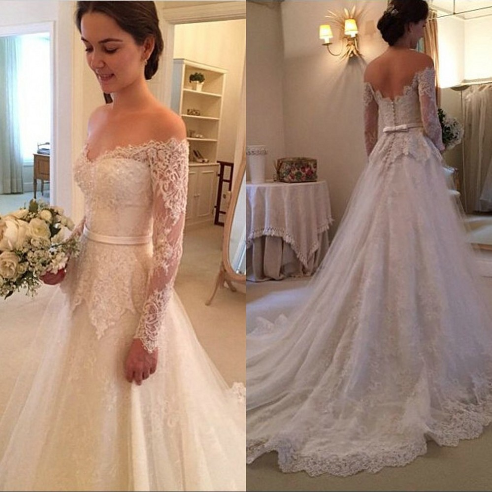 Off the Shoulder Long Sleeve Lace Wedding Dresses