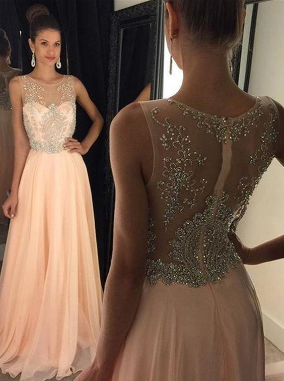 5ca70a7328c3 Pink Cap Sleeve Beaded Prom Dress, Long Chiffon Prom Dress, Sexy Back Evening  Gowns