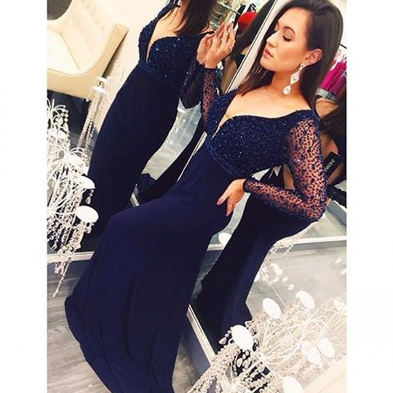 c431c25276b6 Sexy V-neck Long Sleeve Mermaid Evening Dress, Beaded Formal Gowns, Long  Navy