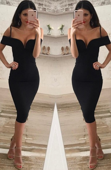 9d1b533cd47 Off Shoulder Black Sheath Evening Dress