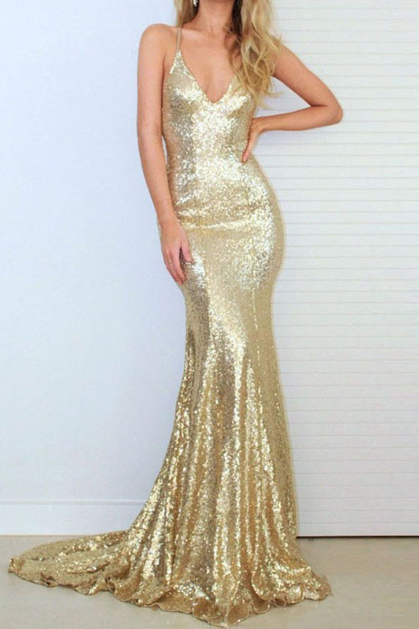 7c601b079c17 Sexy Spaghetti Straps Sequin Evening Dess, Sexy Backless Formal Gowns , Mermaid  Prom Dress,