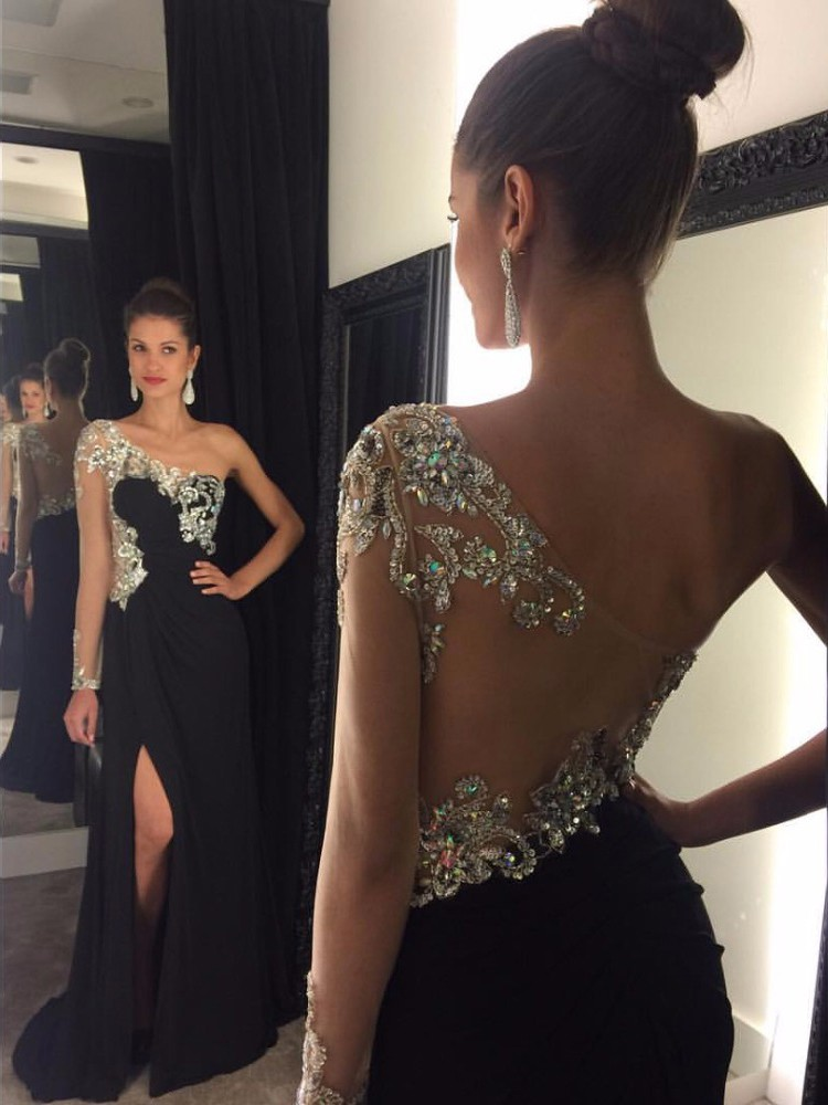 5d066704ca80 One Shoulder Black Sparkly Beads Evening Dress, Side Split Formal Gowns,  Long Sexy Party Dresses