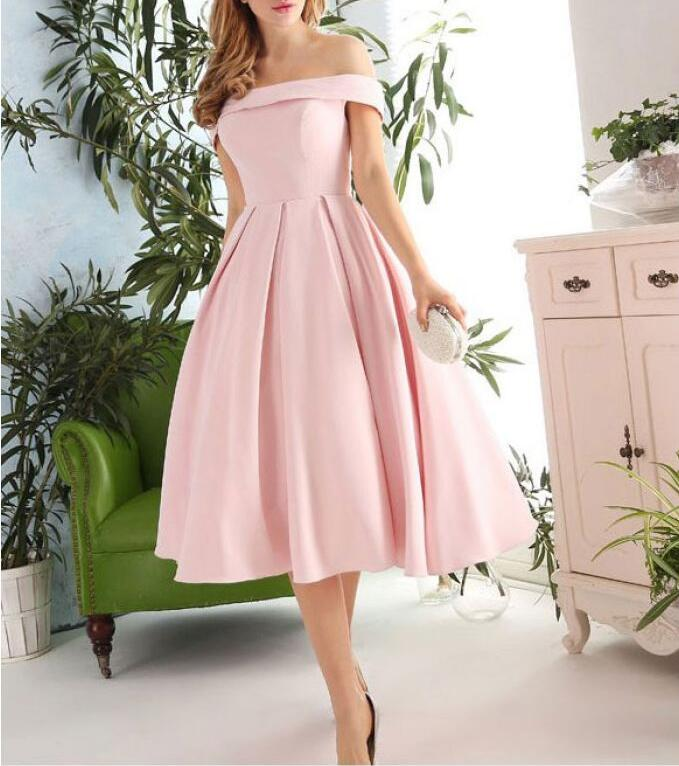 Pink Off Shoulder Vintage Short Ball Gown Formal Dress, Short Prom ...
