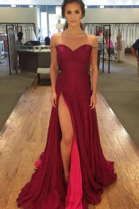 Off the Shoulder Dark Red Pleated Mermaid Evening Dress, Slit Prom Dress, Beaded Formal Gowns