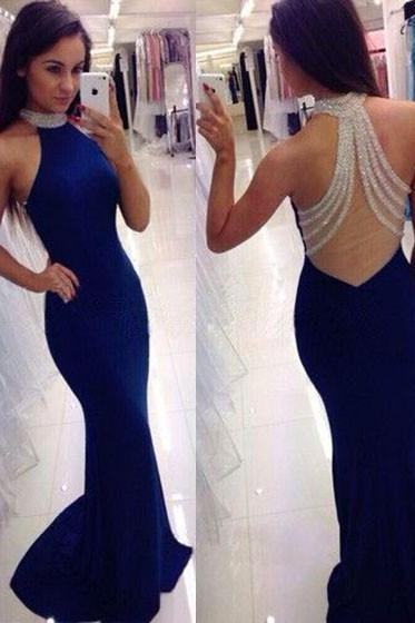 Royal Blue Mermaid Evening Dress, Bling Beaded Party Dress, Sexy Back Formal Gown, Long Party Dress